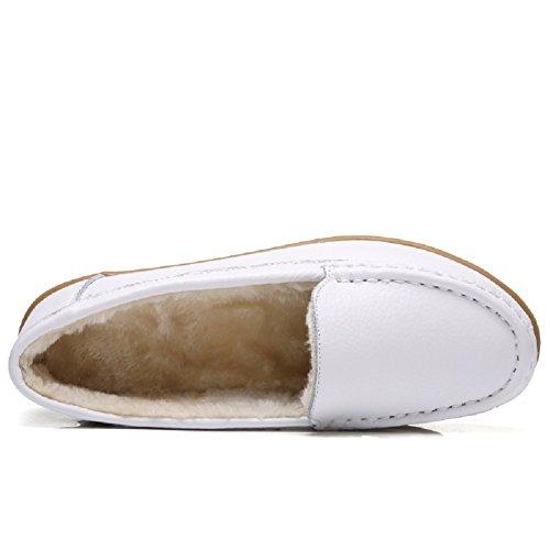 Meeshine Frauen Leder Kunstfell Slip auf Mokassins Hausschuhe Casual Winter warme Halbschuhe flache Schuhe Weiß
