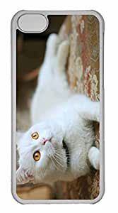 iPhone 5C Case, Personalized Custom White Kitty for iPhone 5C PC Clear Case