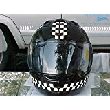 Reflective Motorcycle Helmet Decal Kit - Checkers - Black and Clear