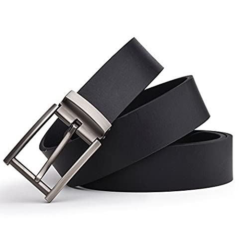 Dycarfell Men's 100% Genuine Leather Belt high quality cowhide - length is adjustable - Delicate gift box (120 CM,