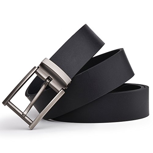 Dycarfell Men's 100% Genuine Leather Belt high quality cowhide - length is adjustable - Delicate gift box (120 CM, - Black Craftsman Belt