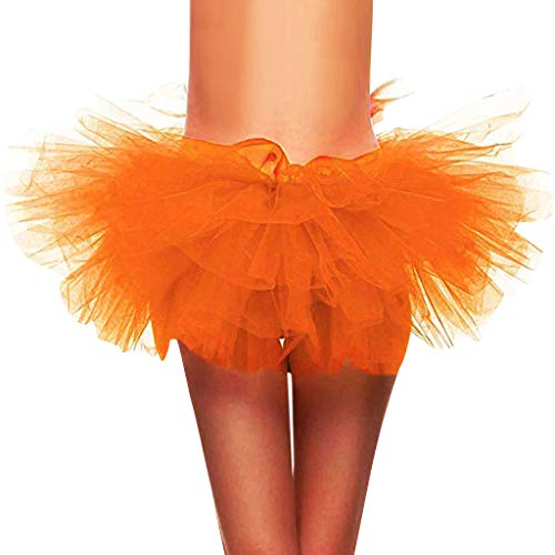 Adult Dance Sweatpant - SSYongxia❤ Women Classic 5 Layered Tulle Tutu Skirt -Adult Ballet Style Tutu for Valentines, Princess Tutu, Dance Orange