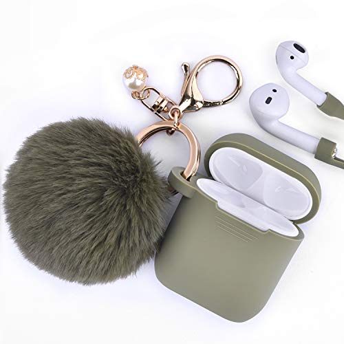 Airpods Case - Filoto Airpods Silicone Glittery Cute Case Cover with Keychain/Strap for Apple Airpod (Olive)