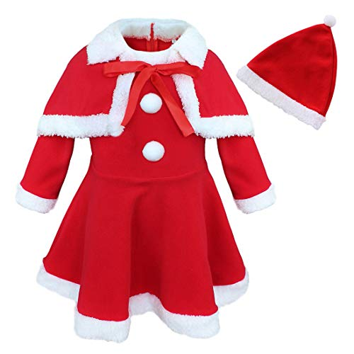 dPois Toddlers Kids Girls' Christmas Miss Santa Claus Costumes Xmas Dress with Shawl Cape Hat 3Pcs Outfits Red 24 Months ()