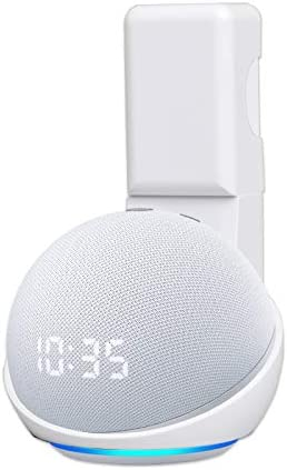 HeyMoonTong Outlet Wall Mount Holder Stand for Dot 4th Generation, A Space-Saving Accessories with Cord Management for Dot(4th Gen) Smart Home Speakers, Hide Messy Wires (White)