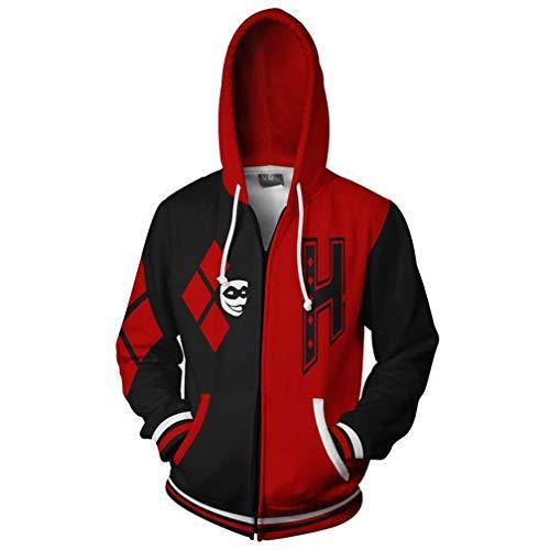 Womens Mens Sweater 3D Print Clown Suicide Team Harley Quinn Zipper Hoodies Hooded Sweatshirt with Pocket (M, 01) -