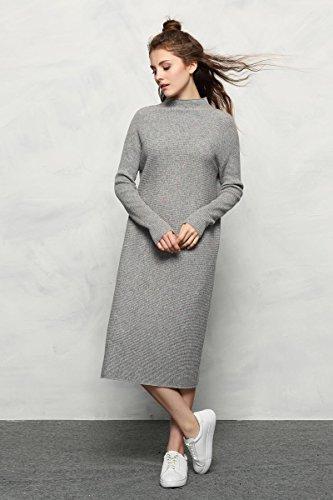 Chesslyre 100% Cachemire Dos Gris Tranché La Robe Pull En Cachemire Côtelé Lâche Des Femmes (avec Des Points Colorés)