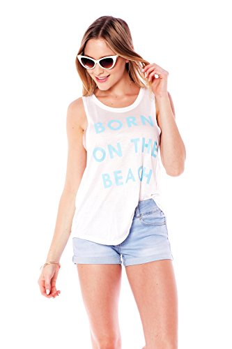 Hollywood Star Fashion Women's Sleeveless Crop Top Graphic Tee Born On The Beach (Small, White) ()