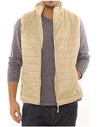 Alta Men's Puffer Quilted Water Repellent Full Zipper Packable Vest Jacket Coat - Cream - Large