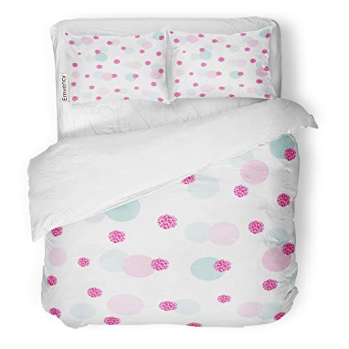 Vintage Valentine Clipart - Semtomn Decor Duvet Cover Set Full/Queen Size Confetti Polka Dot Pink and Pastel Blue Colors for Birthday Valentine 3 Piece Brushed Microfiber Fabric Print Bedding Set Cover