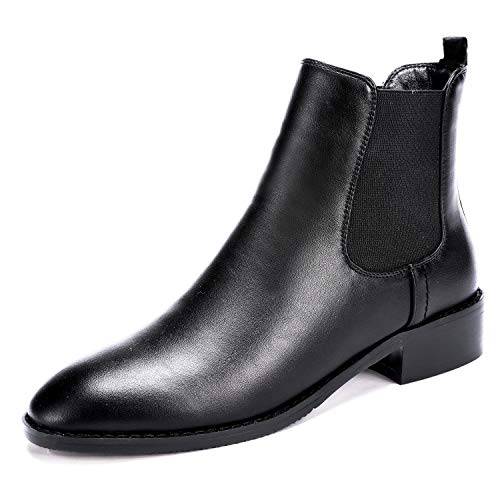 7b51d3e46ee4 Odema Womens PU Leather Chelsea Boots Low Heel Elastic Slip On Ankle Bootie