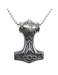 Stainless Steel Mythical Thor's Hammer Men Biker Pendant Necklace