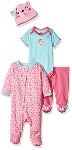 Gerber Baby 4 Piece Sleep 'n Play, Onesies, Footed Pant and Cap Set, leopard, 0-3 Months