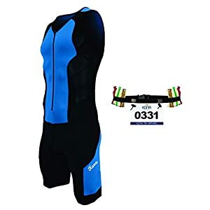 Kona II Men's Triathlon Suit – Sleeveless Speedsuit Skinsuit Trisuit with Storage Pocket and Bonus Race Bib Belt