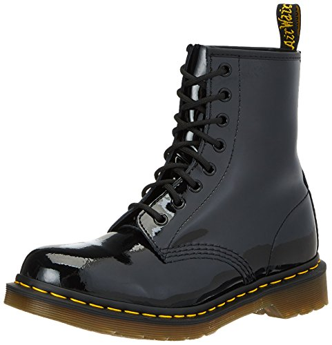 460 Patent Lamper 8 Eyelet Black Leather Boots 8.5 US ()