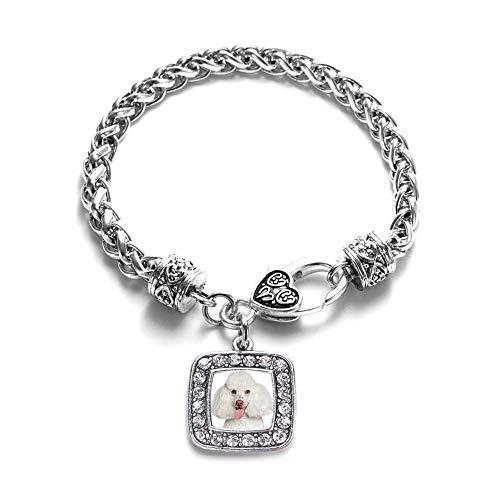 Inspired Silver - Poodle Face Braided Bracelet for Women - Silver Square Charm Bracelet with Cubic Zirconia Jewelry