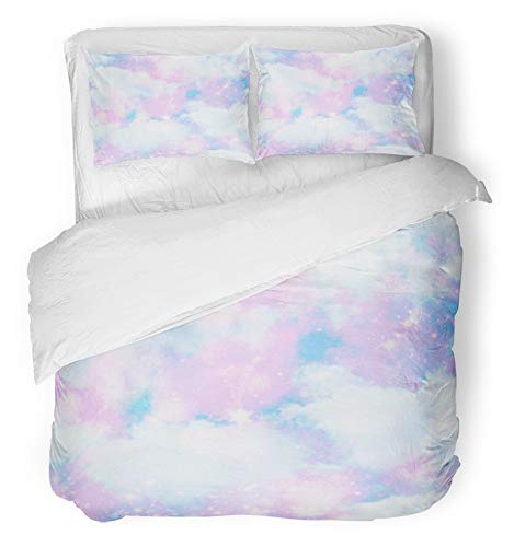 Emvency 3 Piece Duvet Cover Set Breathable Brushed Microfiber Fabric Blue Space Unicorn Cloud Sky Galaxy Printseamless Pattern in Pink Cosmos All Over Bedding Set with 2 Pillow Covers Twin Size
