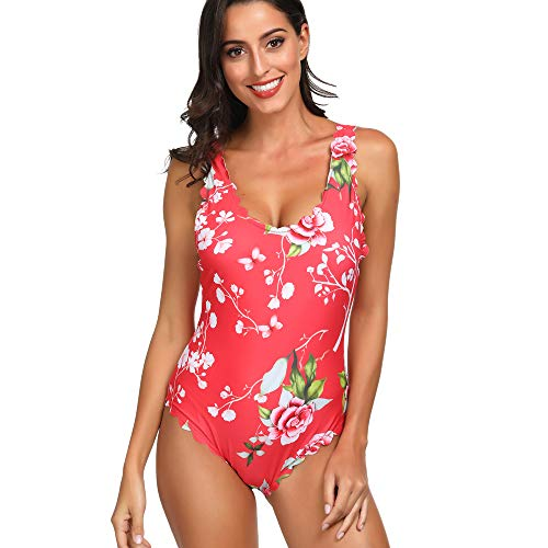 Advoult Bathing Suit for Women Monokini Swimwear Floral Print One Piece Swimsuit Red