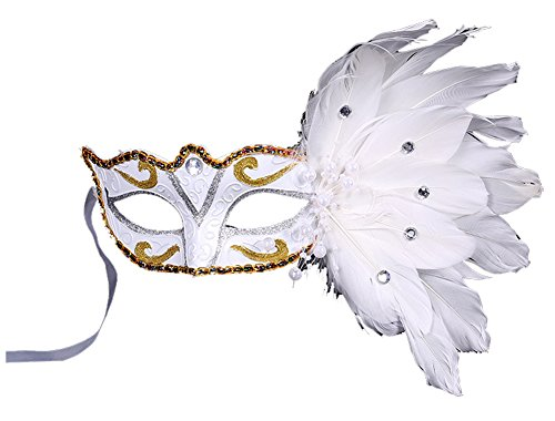 Masquerade Christmas Day New Year Party Solid Color Painting Feather Mask (White)