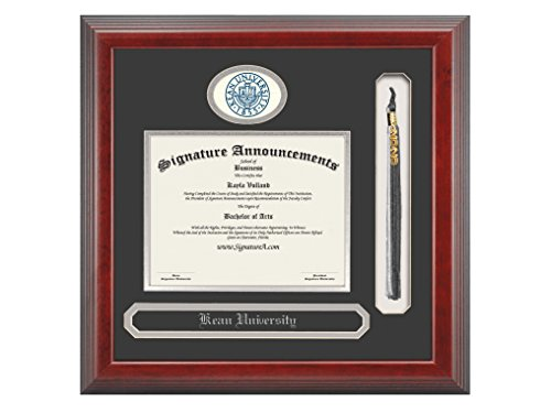 Signature Announcements Kean University Undergraduate  Graduate Professional Doctor Sculpted Foil Seal  Name   Tassel Diploma Frame  16  X 16   Cherry