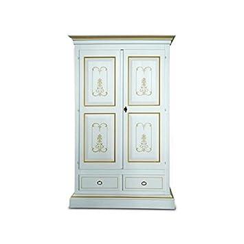 Schrank 2 Türen lackiert weiß Holz Massivholz Draht ocker: Amazon.de ...
