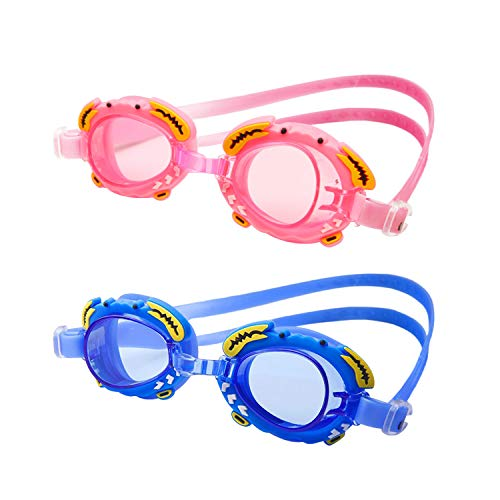 Alyen Kids Swim Goggles 2 Pack, Clear Vision Swimming Goggles for Children and Early Teens(Age 5-12 Years Old)+Ear Plugs,Anti-Fog Eye Protection Goggle,Leak-Proof, Soft Silicone Frames, -