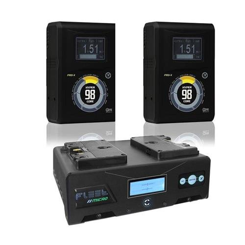 Core SWX Hypercore 98 2-Battery Gold Mount Kit with Dual Fleet Micro Charger - Includes 2 Pack 14.8V Hypercore 98A 3-Stud Gold Mount Battery, Fleet Micro 3A Dual Battery Charger