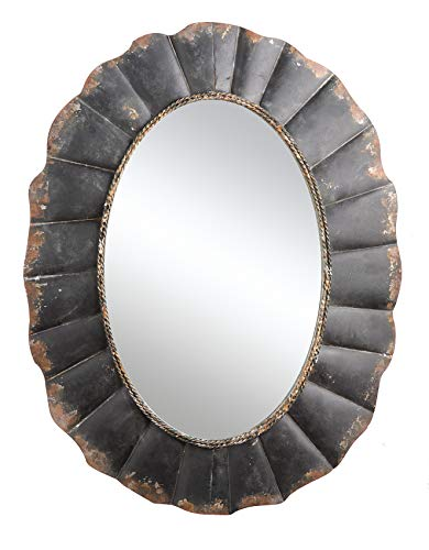 Creative Co-op Oval Mirror with Distressed Black Scalloped Metal - Oval Bathroom Mirrors Metal Farmhouse