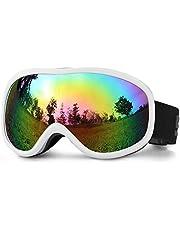 SPOSUNE Skibrille Damen Herren Snowboardbrille OTG Kids Skibrille Brille Wear Anti-Fog 100% UV400 Schutz für Skifahren Rollschuhlaufen Windschutz Schlagfest Helm kompatibel