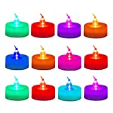 WoneNice Christmas Colorful Changing Battery Operated Flickering Tea Light Candles - Pack 12