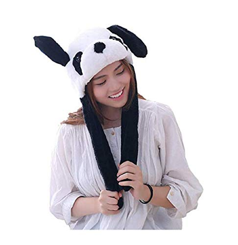 Happy Island Plush Moving Rabbit Ear Hat Dancing Bunny Ears Pinching Ear to Move Vertically Cartoon Animal Plush Toys (Panda)