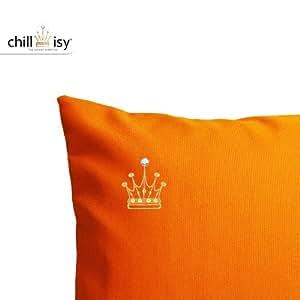 chillisy® orangenes Outdoor Cojín, 40x 40cm, con corona bordados en oro, sonnenresistent & impermeable, fabricado en Alemania