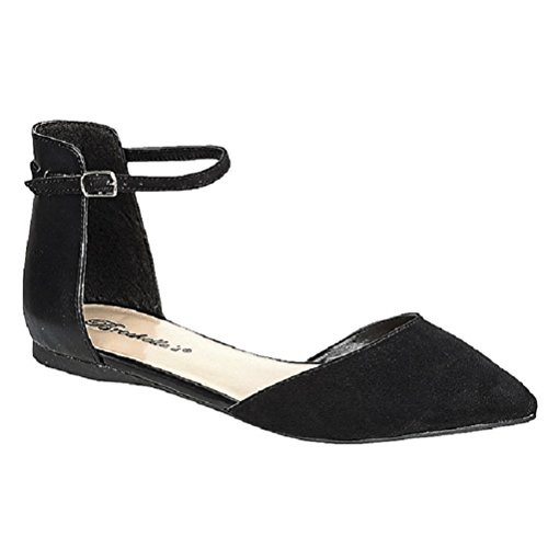 Dolley-41 Women Classy Open Sides Ankle Strap Pointed Toe D'orsay Flat Sandal (Black) 7 US