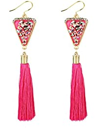 Triangle Rhinestones Multi-color Long Tassel Fringe Drop Dangle Stud Earrings
