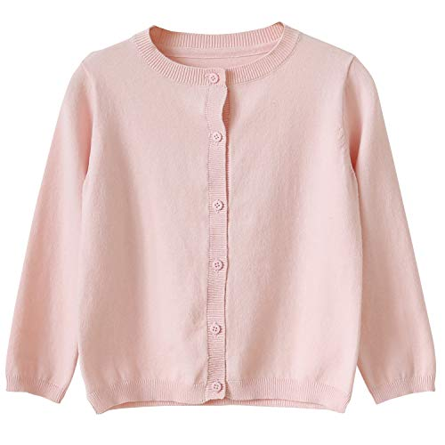 CUNYI Little Girl's Crewneck Button-up Cotton Cardigan Knit Sweater Casual Outerwear, Light Pink, 8~9 Years/140