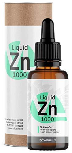 Triple Ionic Zinc - Zinktropfen mit max. Bioverfügbarkeit - Zinkgluconat, Zinkbisglycinat & Zinkascorbat - 1000 Tropfen Zinkionen gelöst in Wasser - 50ml von VALUELIFE