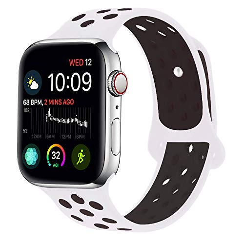 RUOQINI Compatible for Apple Watch Band 38MM 40MM, Dual-Color Soft Silicone Sport Replacement Band Compatible for Apple Watch Series 4 (M/L Size in White/Black Color)