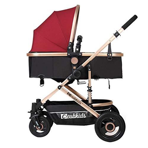 Zsail High Landscape Lightweight Baby Stroller 4 Wheel Damping Adjustable Pram Travel System Carriage Infant Pushchair Multicolor (Color : I)