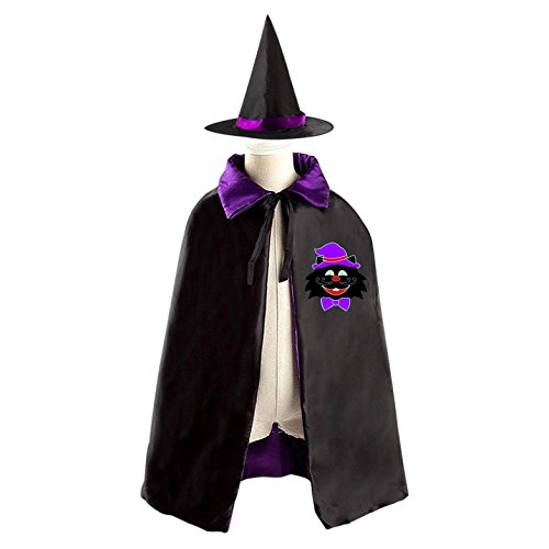Black Cat with Purple Hat Kids Halloween Party Costume Cloak Wizard Witch Cape With Hat Set (The Cat In The Hat Costume Diy)