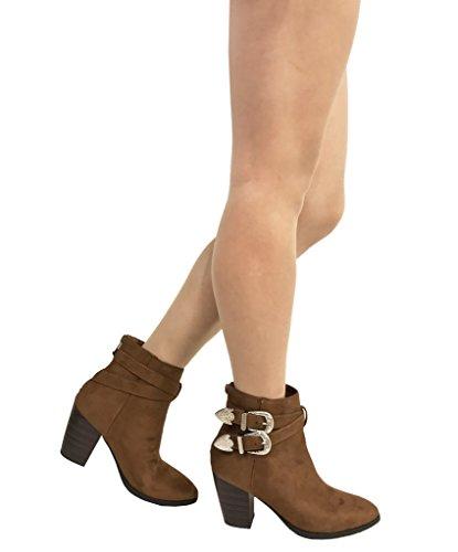 luna! Mujeres Western Hebilla Correas High Block Heel Botines Cognac Faux Suede