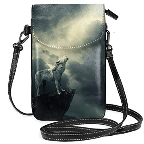 Small Cell Phone Purse For Women Leather Wolf Howling Moon Insides Card Slots Crossbody Bags Wallet Shoulder Bag