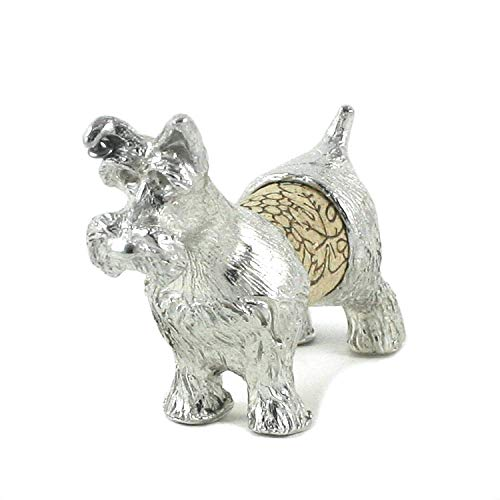 - Schnauzer Dog Wine Cork Sculpture - Gift Boxed with Story Card - Changeable Cork Display - Pewter Made in USA