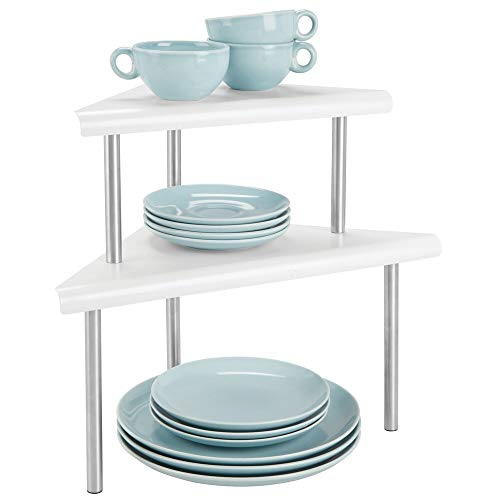 (mDesign Modern Metal 3-Tier Kitchen Countertop and Pantry Cabinet Corner Storage Shelf Organizer Stand for Storing Mugs, Bowls, Spices, Baking Supplies - Free Standing, 2 Shelves - Matte White/Brushed)