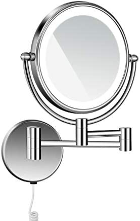 langrun 3X Magnification Body Sensing LED Lighted Dual Sided Wall Mirror, 8Inch Stainless Steel Nickel Brushed, Lighted