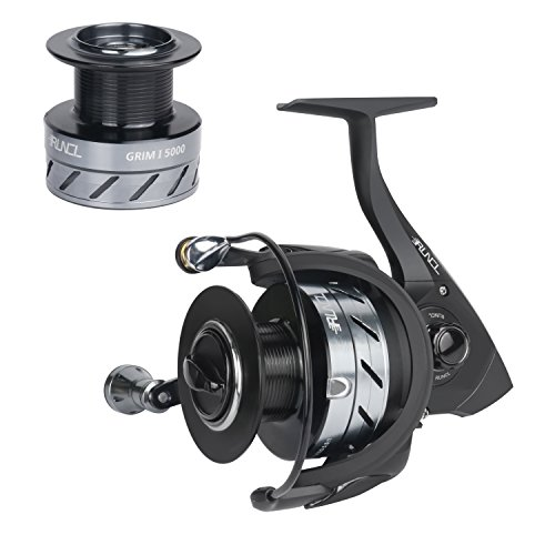 RUNCL Spinning Reel GRIMⅠ5000, Fishing Reel with Spare Aluminum alloy Spool Left/Right Interchangeable Handle 5.5:1 Gear Ratio 10+1 Ball Bearings for Freshwater Saltwater Boat Fishing (Black)