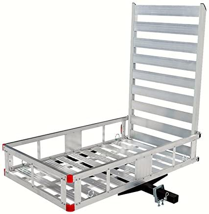 "MAXXHAUL 80779 Aluminum Hitch Mount Cargo Carrier with 47"" Long Ramp, 1 Pack"