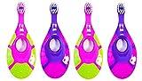eValueCan Baby Toddler Toothbrush, 4 pack, BPA Free & Soft Bristles, 0 to 2 Years - Girl First Set (2 Pink/Green & 2 Purple/Pink)