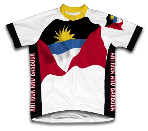(ScudoPro Antigua And Barbuda Flag Short Sleeve Cycling Jersey for Men - Size XL)