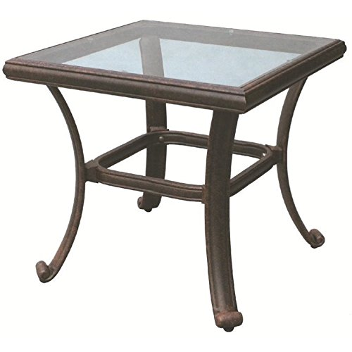 Darlee Patio Square End Table with Glass Top in Antique Bronze