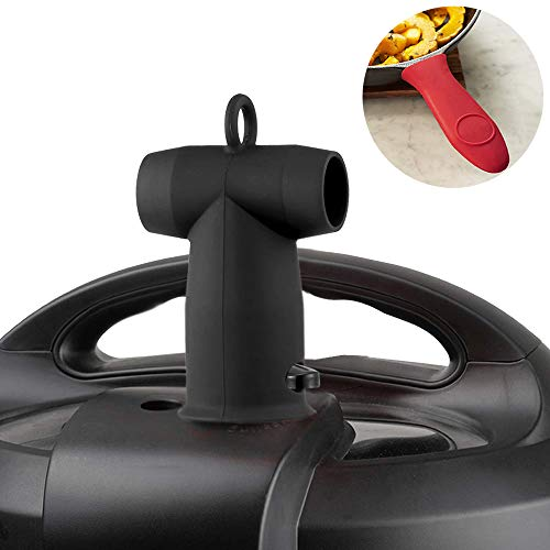 Steam Valve Knob - Steam Diverter, Silicone Steam Release Valve Accessory Cooker Pressure Release for Instant Pot Duo/Duo Plus/Smart/Ultra Models and Hot Handle Holders for Cast Iron Pot/Pan as Gift